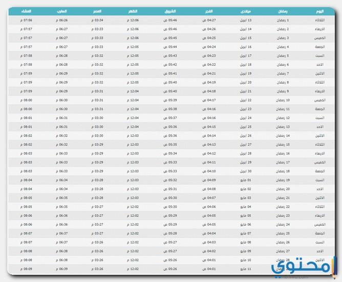 إمساكية شهر رمضان الكريم في عمان 2021 موقع محتوى