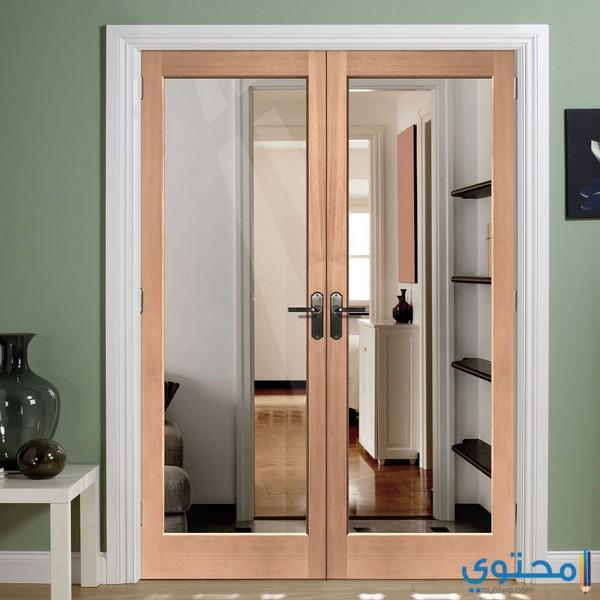 أبواب خشب داخلية مع زجاج