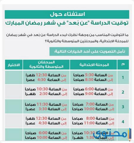 التعليم السعودي يعلن عن استفتاء أوقات الدراسة في رمضان 1442 موقع محتوى