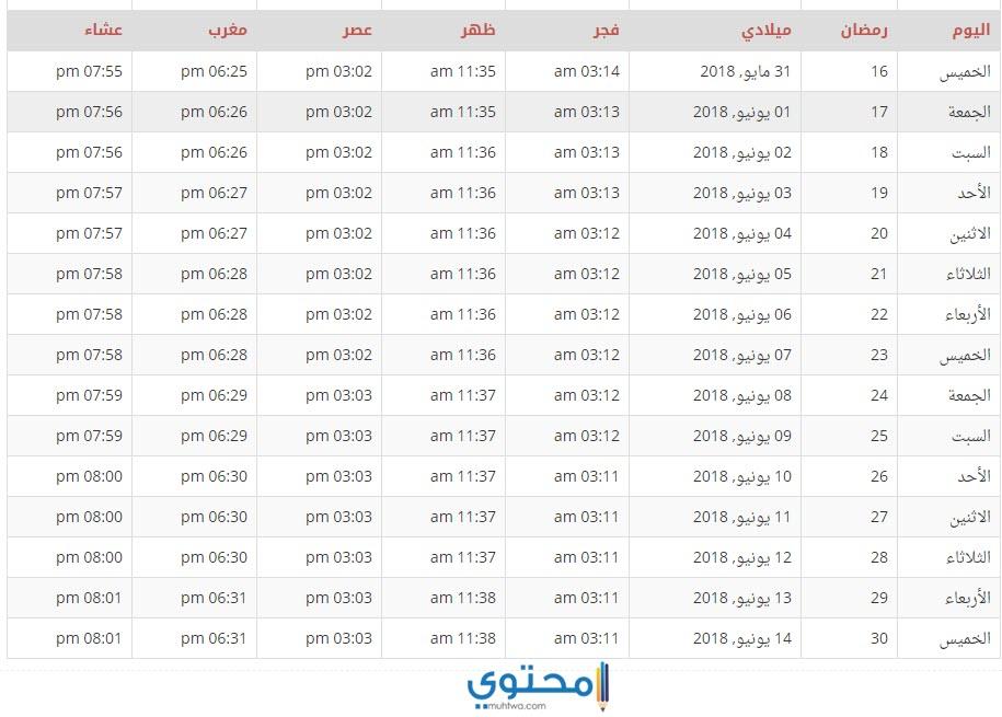 امساكية البحرين 2018