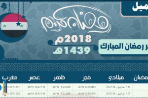 امساكية رمضان 2018 سوريا