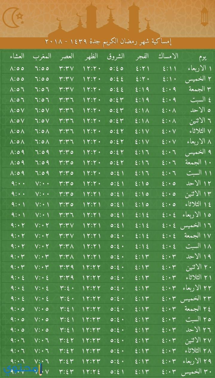 امساكية رمضان 2018 جدة