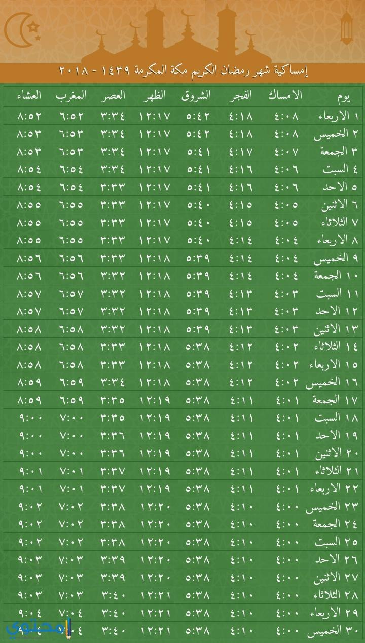 امساكية رمضان 1439 مكة