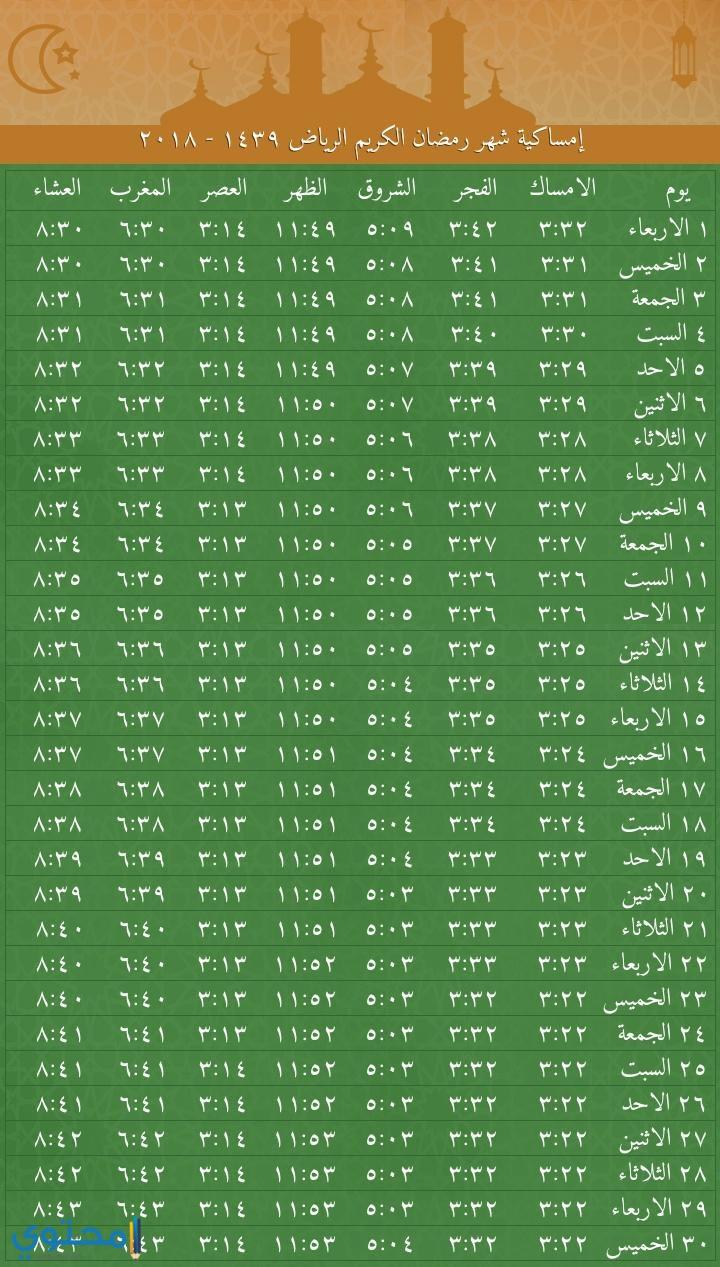 امساكية رمضان 1439 الرياض