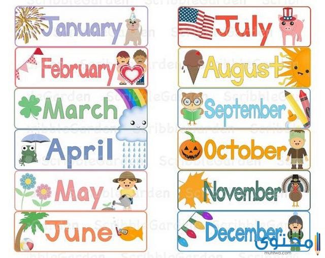 الأشهر الميلادية بالإنجليزية