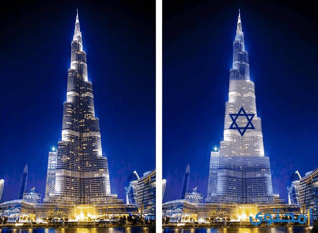 صور برج خليفة علم اسرائيل