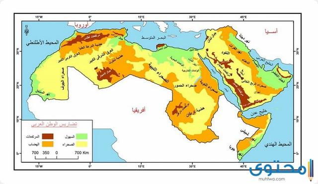 خريطة تضاريس الوطن العربي