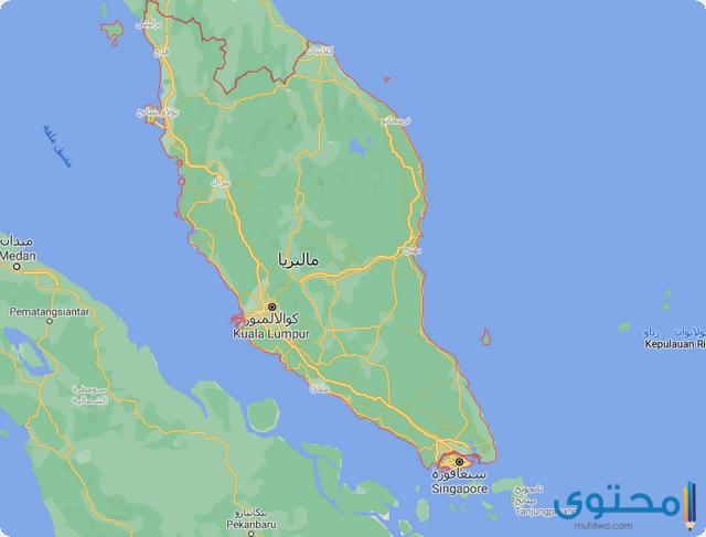 خريطة ماليزيا وسنغافورة