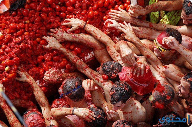 """مهرجان """" الطماطم """" في اسبانيا"""