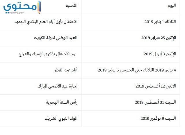 متى تبدا عطلة عيد الفطر 2019 في الكويت