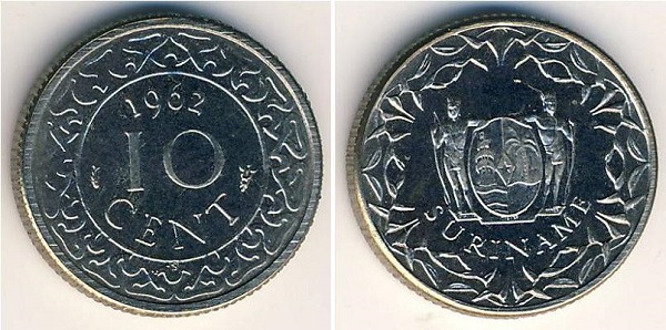 فئة 10 سنت سورينامي معدني