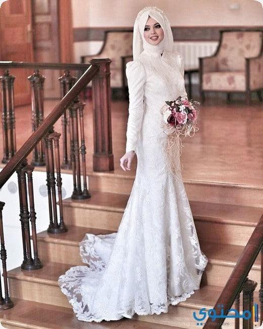 134901d8b2d84 احدث فساتين زفاف للمحجبات 2019 - موقع محتوى