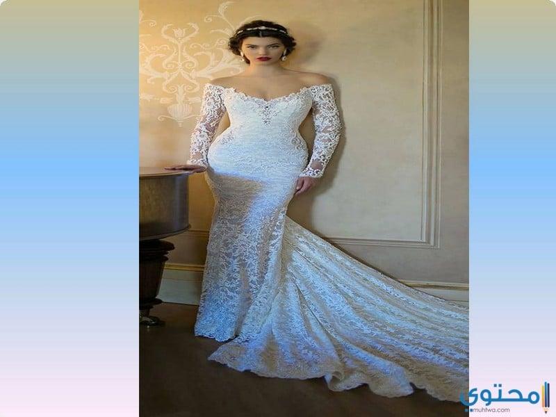 تصاميم لفساتين زفاف ذيل السمكة