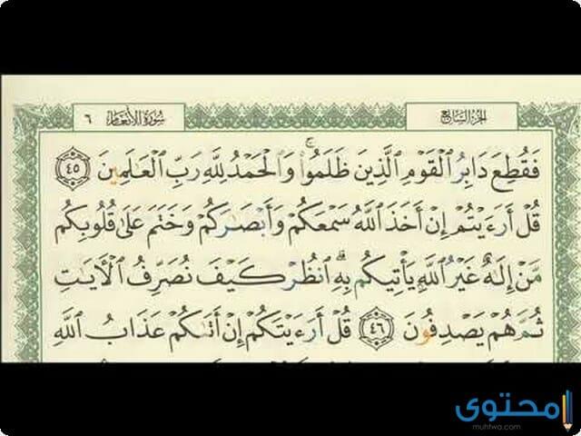 فضل قراءة سورة الأنعام3