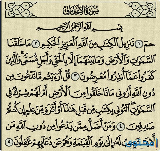 فضل قراءة سورة الاحقاف