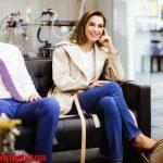 اجمل اطلالات الملكة رانيا العبد الله بالازرق