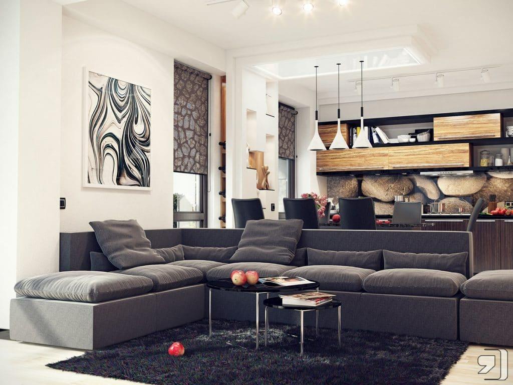 Nature colors living room kitchen - تصاميم مطابخ الوميتال حديثة 2018