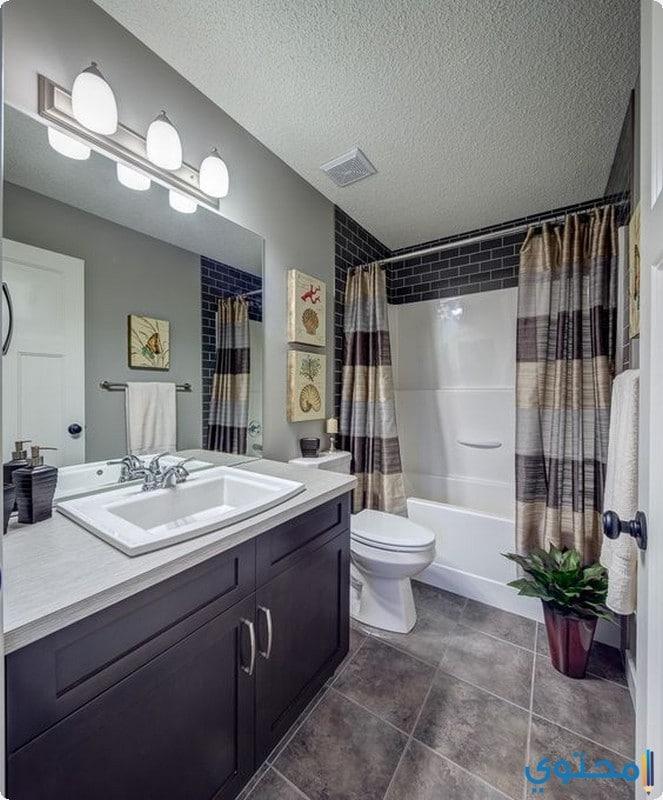 حمام باللون الرمادي