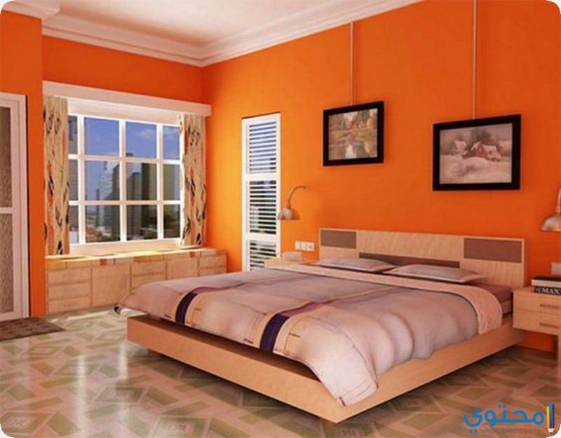 غرفة نوم مشرقه باللون البرتقالي