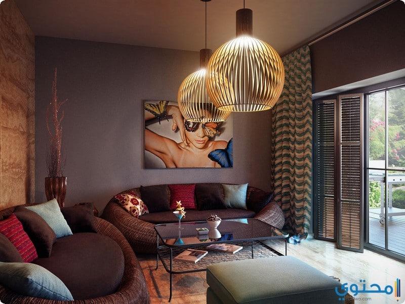 صور ديكورات غرف جلوس باللون البني 2021 - موقع محتوى