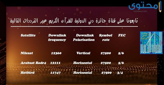 تردد قناة دبي للقرآن الكريم نايل سات