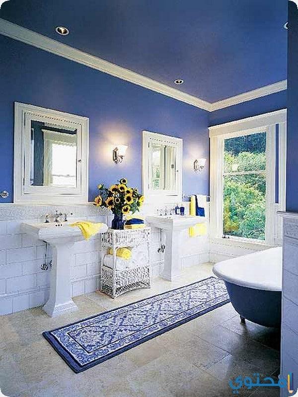 ديكور حمام باللون الازرق